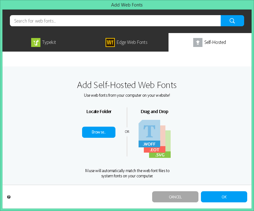 Using Typekit and other web fonts in Adobe Muse