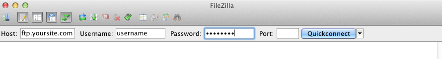 Connecting to the FTP server using FileZilla