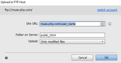 Upload a Muse site to a third-party hosting service