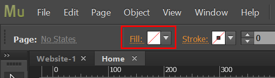Set Fill to None in Adobe Muse