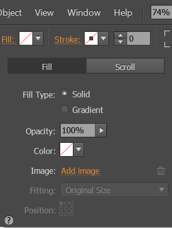 Use the Fill menu to select the rectangle fill