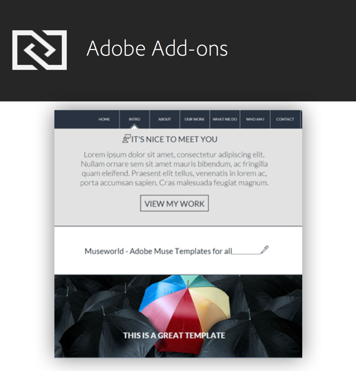 Download design elements such as widgets, wireframes from Adobe Add-ons.