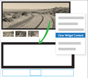 Use Clear Widget Content to remove all the content within a widget