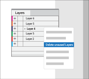 Delete unused layers by selecting the option from the context menu within Layers panel.