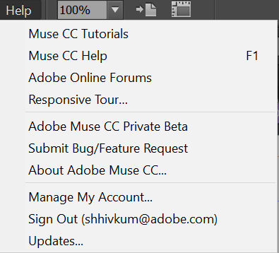 Help Menu in Adobe Muse 2017.0.2 and later versions