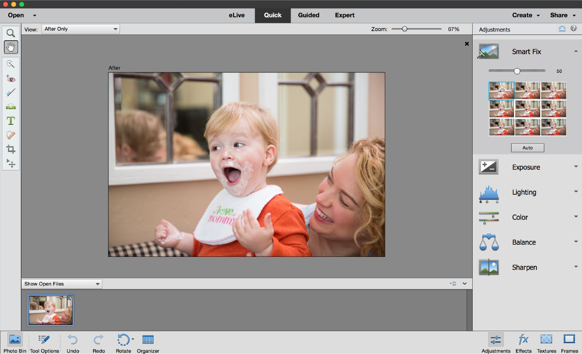 Quick mode in Photoshop Elements
