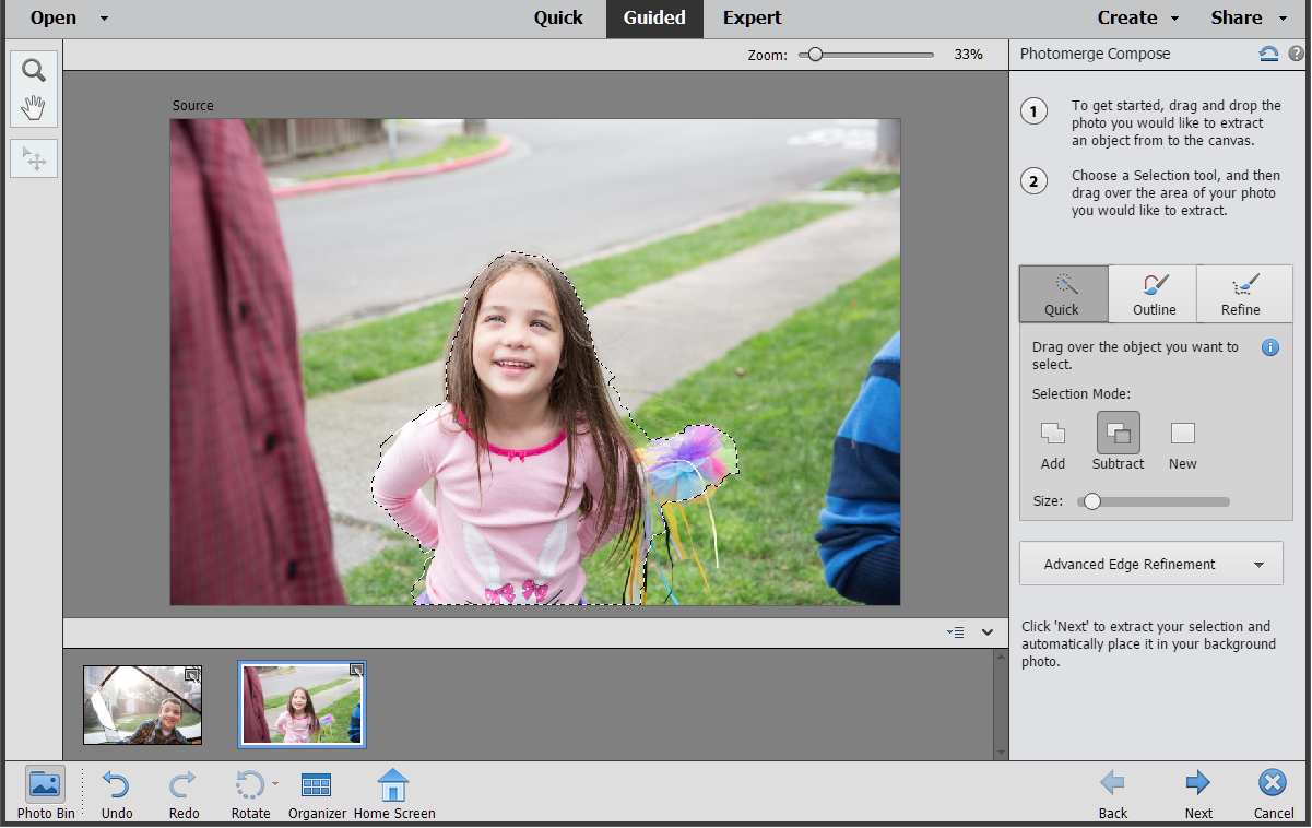 Making a selection in Photomerge Compose Guided Edit