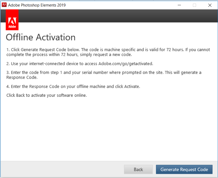 Offline activation of Adobe Photoshop Elements and Premiere