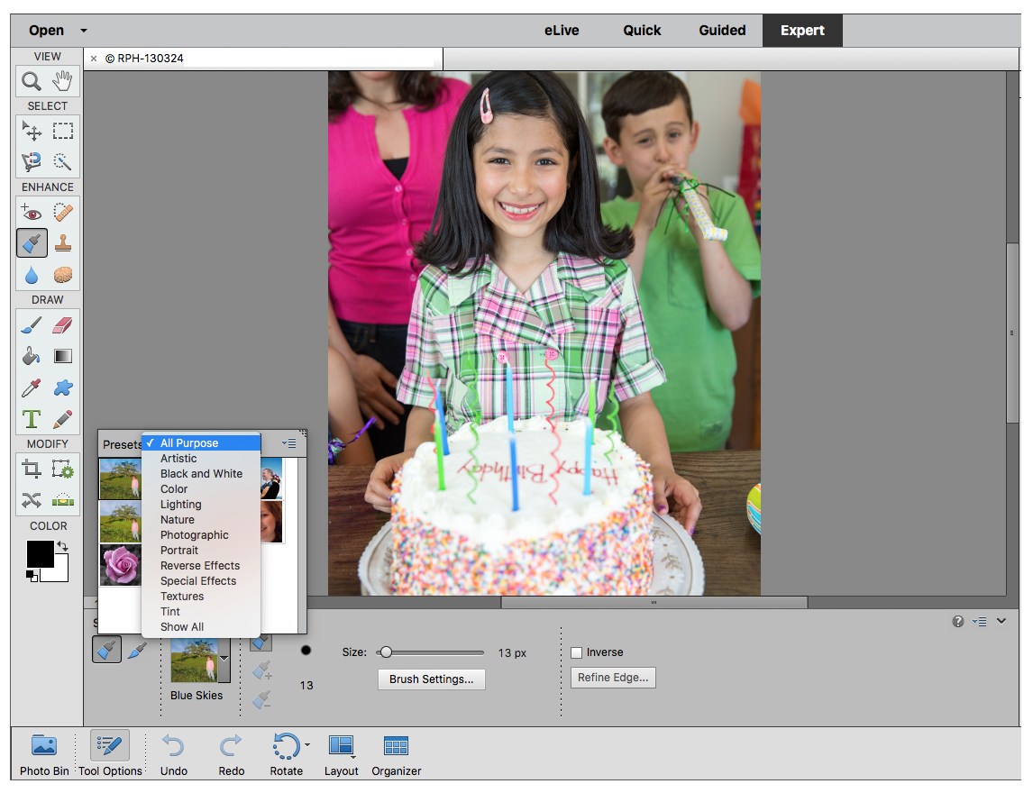 How to fix color cast in photoshop elements - Smart Brush Available Presets