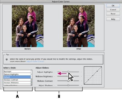 Adjusting color curves