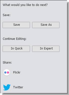 Share Panel in Guided Edit window