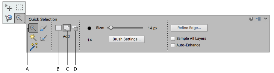 Quick Selection Brush tool options