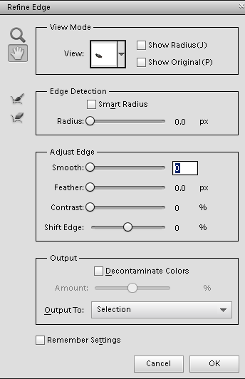 Refine edge options panel