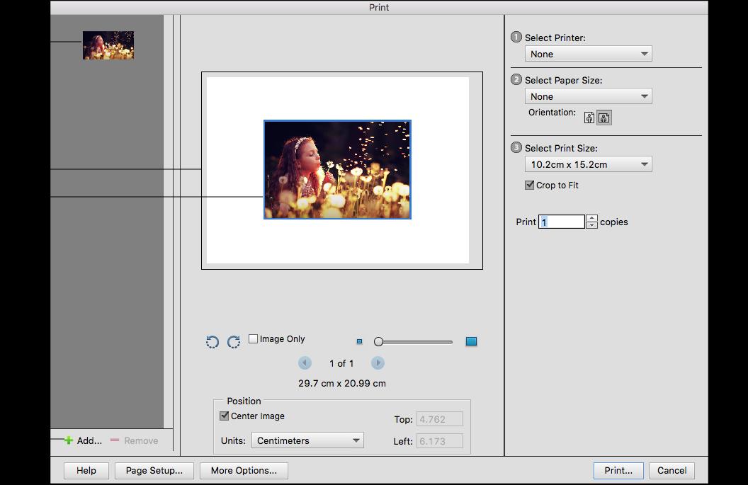 Print photos in Photoshop Elements
