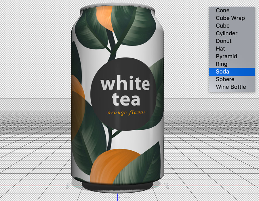 "Soda can with 2D image label wrapped around it set in a 3D workspace, list of 3D presets with ""Soda"" selected on the right"