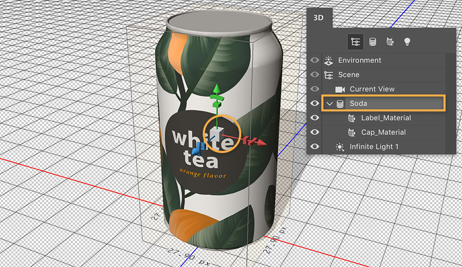 3D axis tool: green line is y-axis, red is x, and blue is z; 3D panel shows Label_material and cap_material under the soda