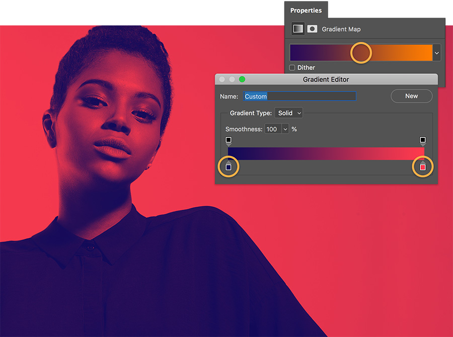 Double-click color stops and use Color Picker to set colors in gradient