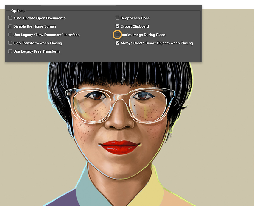 Illustrated headshot shows Adobe Photoshop general preferences panel with the Resize Image During Place checkbox unchecked