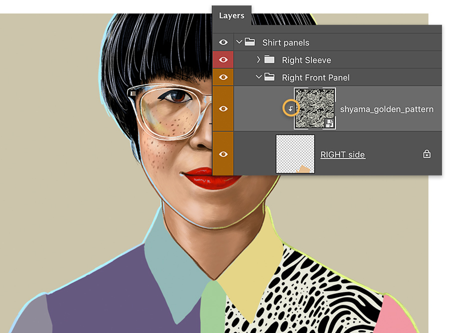 Adobe Photoshop Layers panel sits over headshot, shows the pattern layer is indented slightly, down arrow shows clipping mask