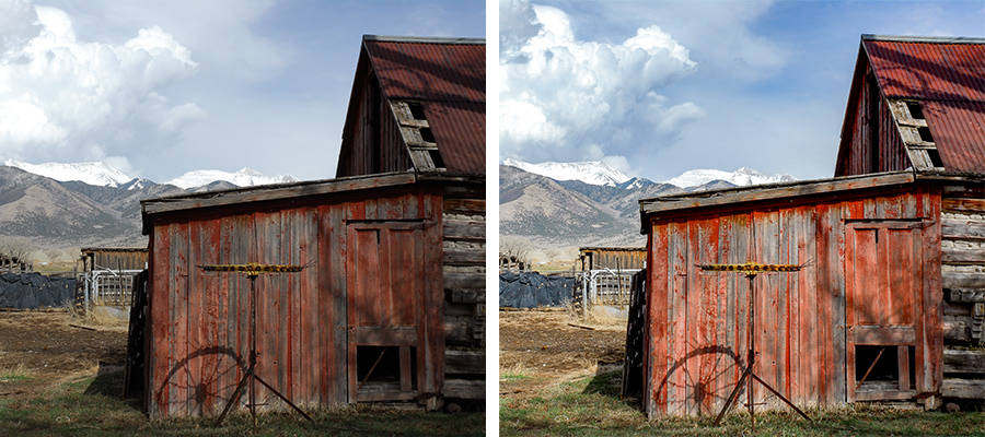 Side by side photos of a barn in a mountain landscape with parts of photo brightened to bring out detail