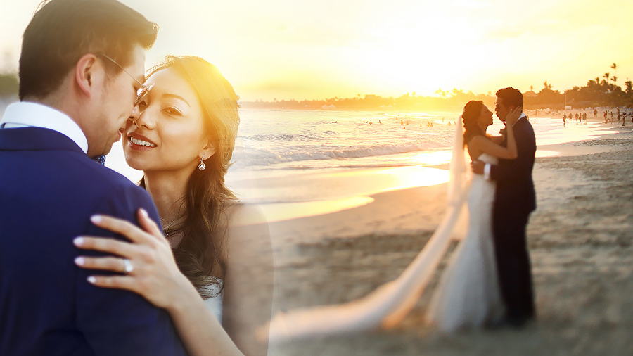 Two images of a wedding couple collaged on a beach background