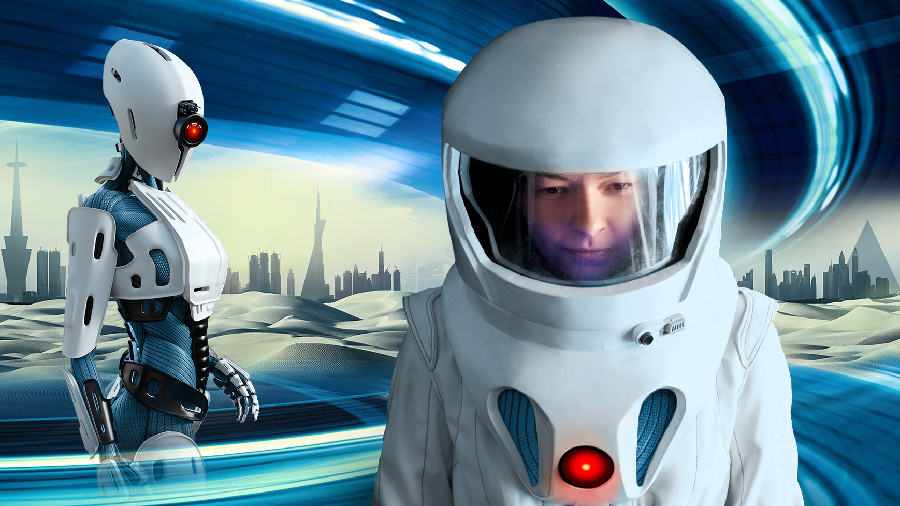 Futuristic depiction of a robot and astronaut in front of a cityscape