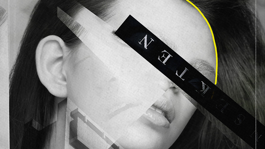 Black and white image of a face with words and pops of yellow color layered over it