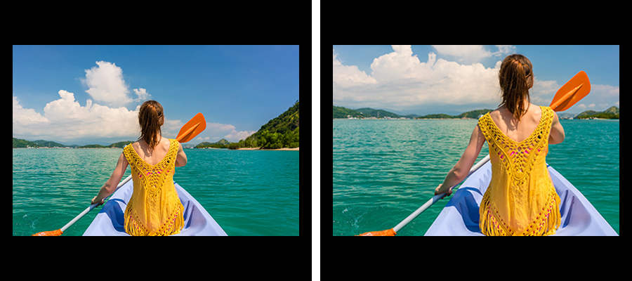 Side by side images of a woman in a rowboat on the water, one side is cropped tighter on the person