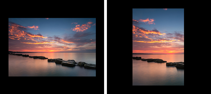 Side by side images of an ocean sunset with results of a crop to focus in on one area
