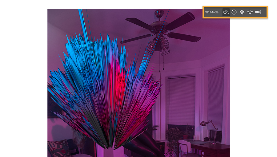 Effect of selection made with Lasso tool when 3D tools applied, colors in selection explode to look like crystals