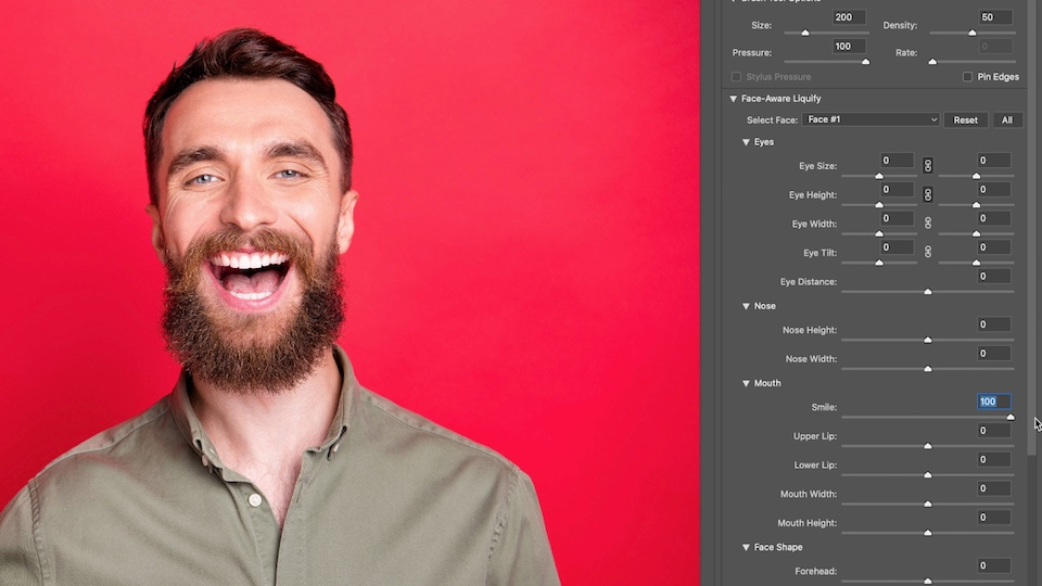 Face-Aware Liquify settings with Mouth option set to 100 appears next to artwork of a man with a wide smile on a red background