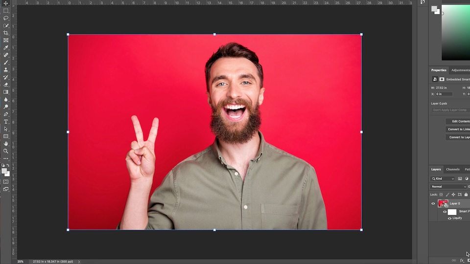 Artwork of a man smiling widely against a red background after making adjustments with the Face tool