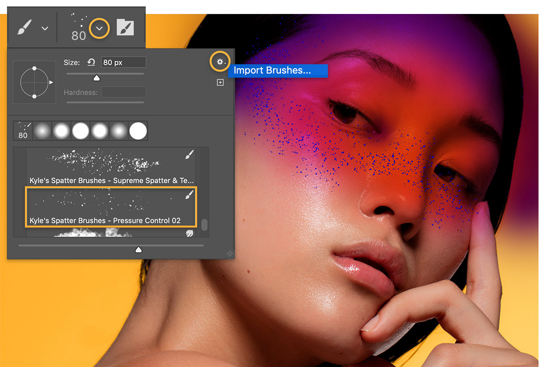Brush settings dialog over headshot of model with glitter effect across cheeks and nose, shows a spatter brush selected