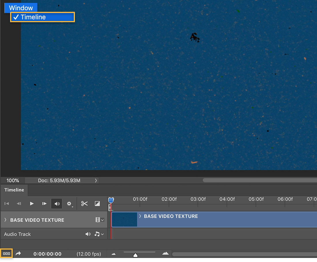 Photoshop canvas shows mottled blue background and animation Timeline has a video layer with 14 frames set to 12 fps