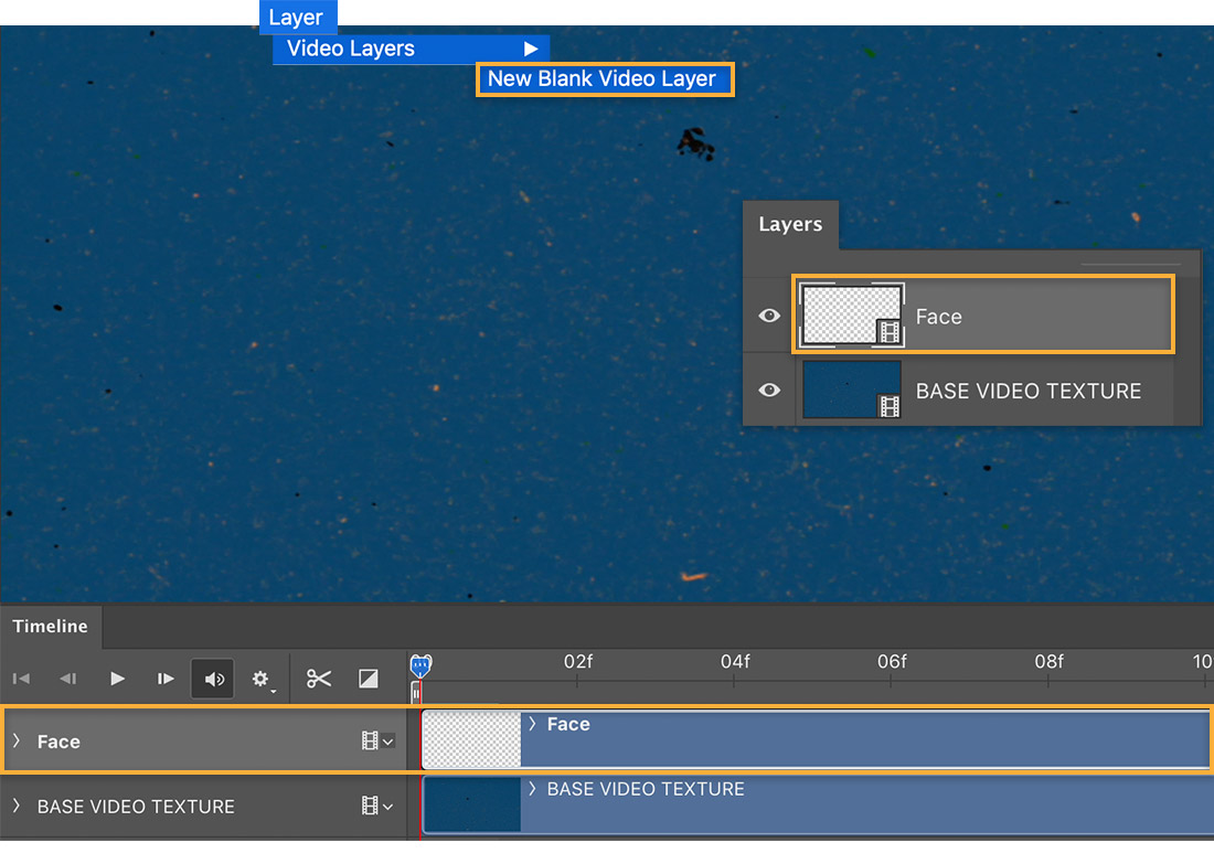 Photoshop animation timeline shows Face layer, Layer > Video Layers > New Blank Video Layer menu selection above canvas