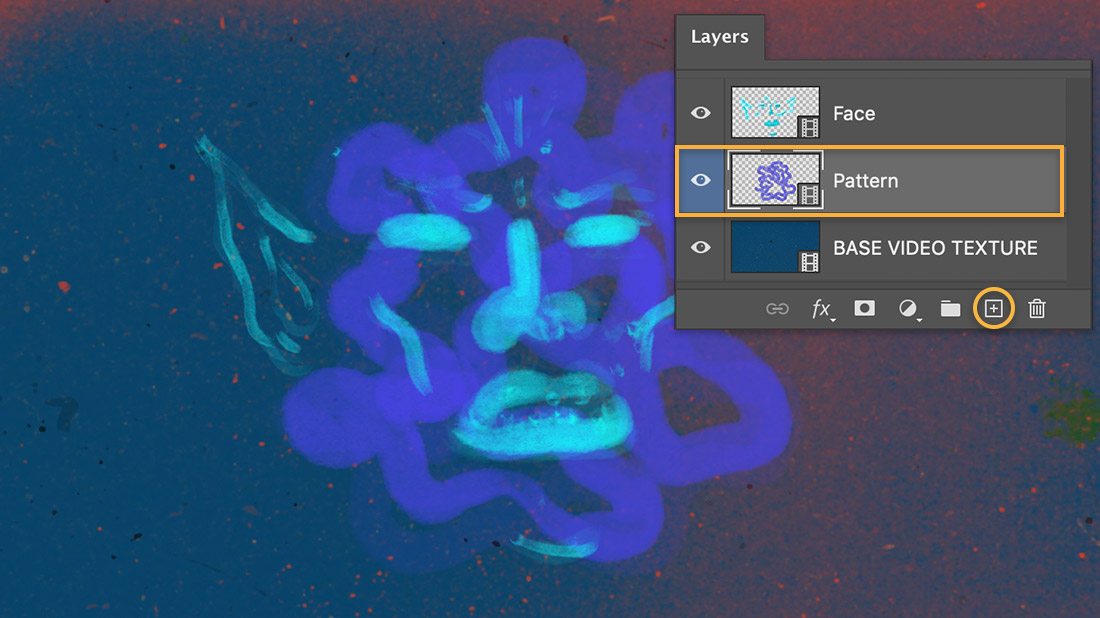 Layers panel shows Pattern layer, canvas shows purple pattern painted around the face