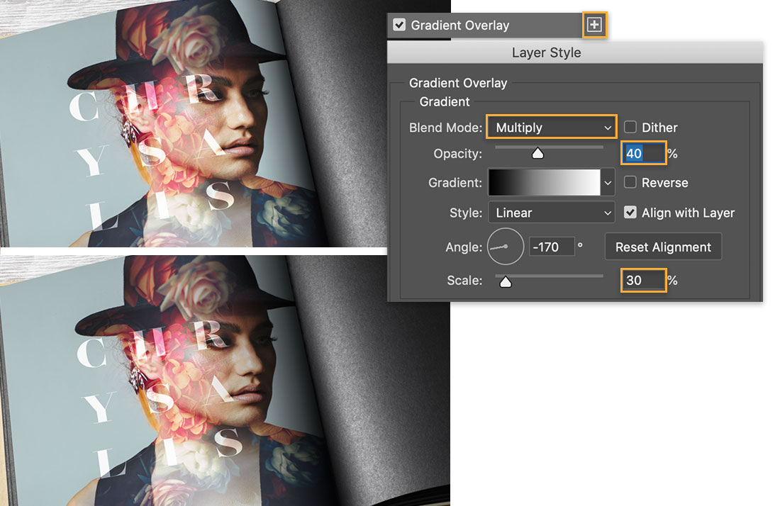 Top image shows dark shadow in seam, bottom has lighter shadow, Layer Style panel shows Blend Mode is Multiply