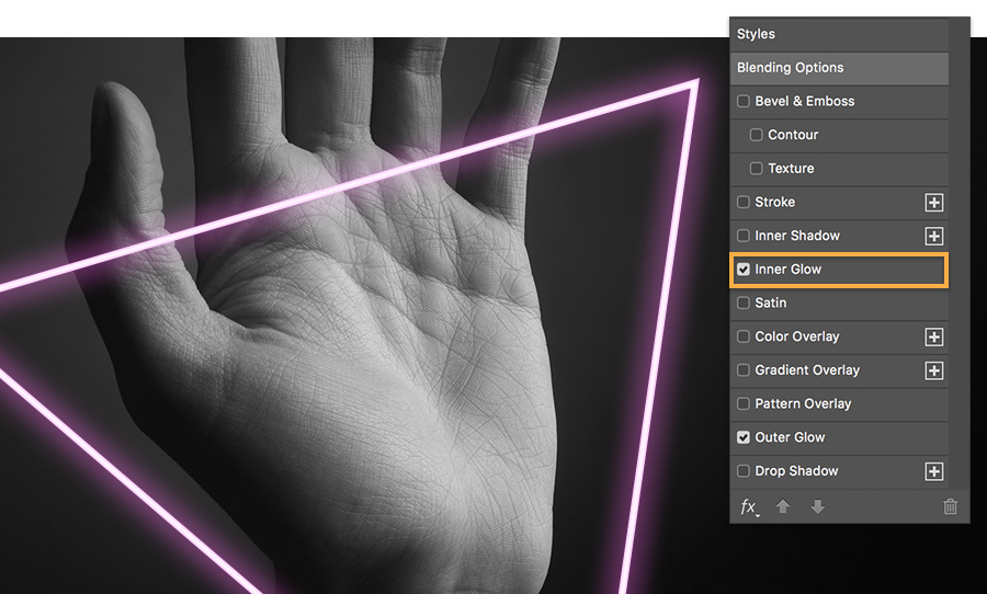Set an inner glow on the shape layer, set blending mode to multiple