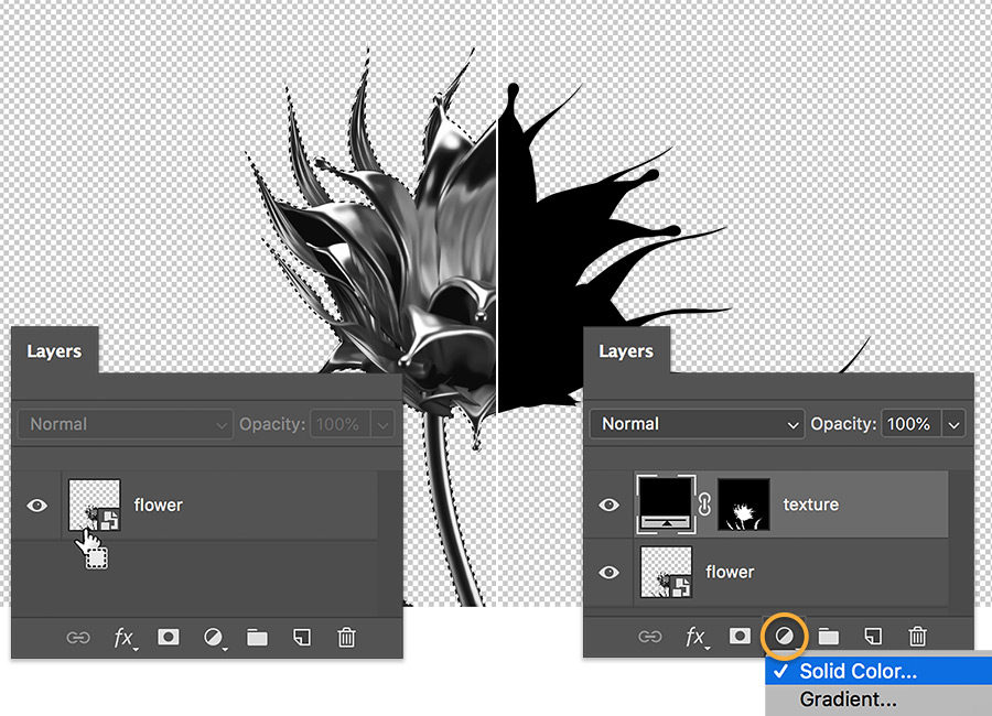 Black and white picture of a flower. Shows before and after of a metallic flower with a Solid Color adjustment layer