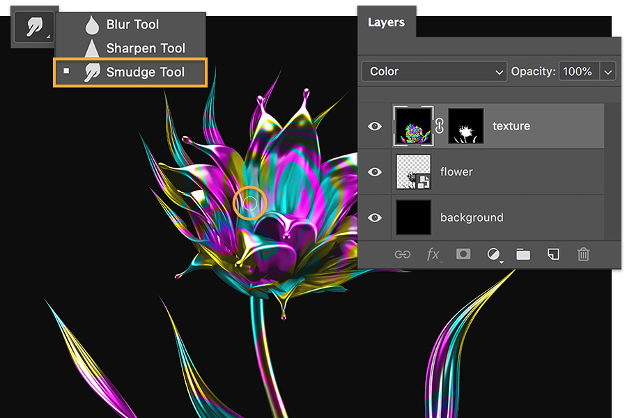 Photoshop Smudge Tool selected, orange callout on flower shows smudge tool used to mix colors, layers panel shows new black background