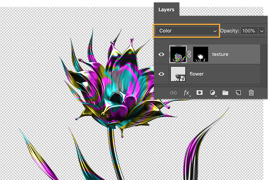 Canvas shows metal flower with swirled colors applied, Adobe Photoshop layers panel show Color blending mode selected