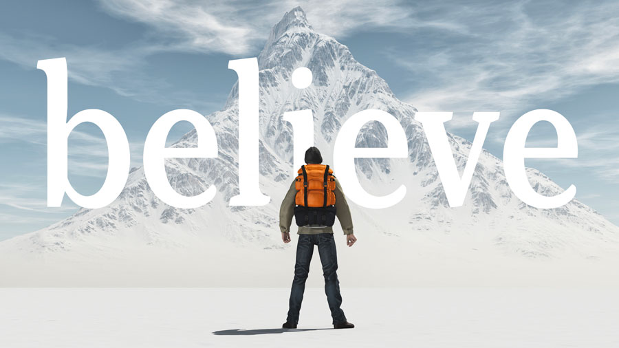 "Image of a backpacker on a snowy mountainscape with the word ""believe"" over the photo"