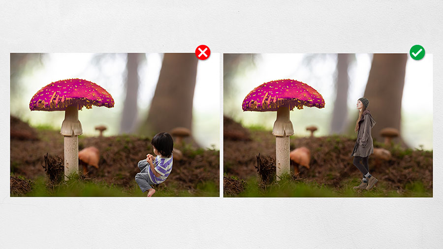 Two similar collages of a person and a magical mushroom illustrating proper scale