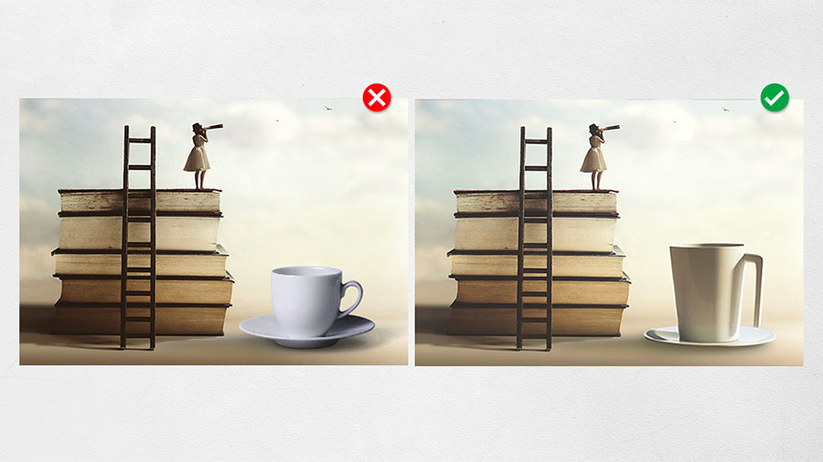 Two similar collages of a stack of books with a ladder, a woman, and a coffee cup illustrating matching light quality