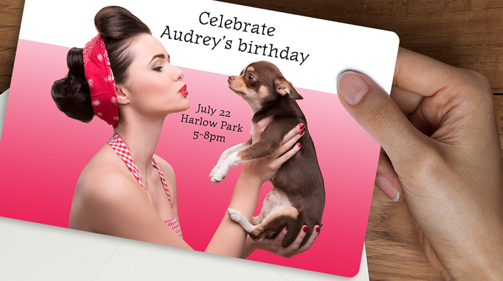 birthday invitation card woman and dog