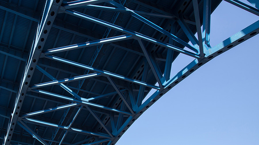 A bridge photographed from underneath