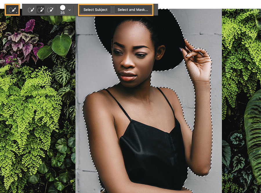Use Quick Selection tool to select model, choose Select Subject and Select and Mask in Adobe Photoshop