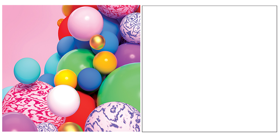 Left side shows colorful spheres; the right side shows a blank white square indicating a blank document in Adobe Photoshop