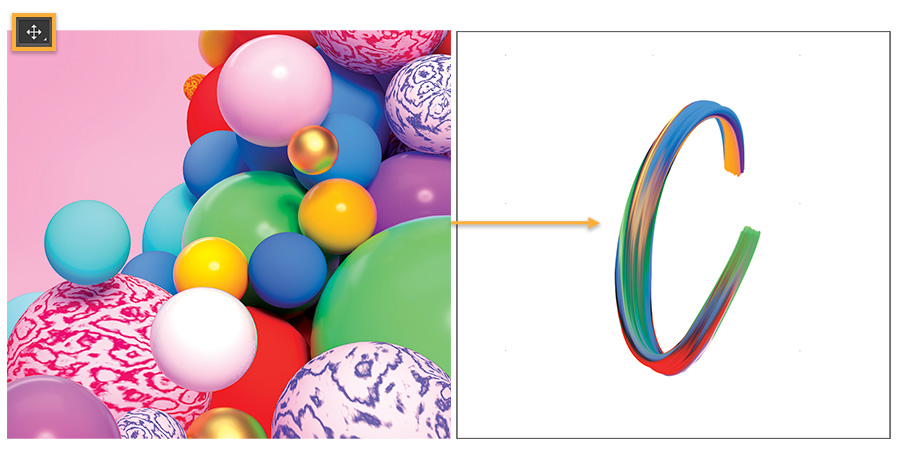 Left: Colorful image with spheres shows Move tool up top; right: newly drawn C is placed in blank Photoshop document