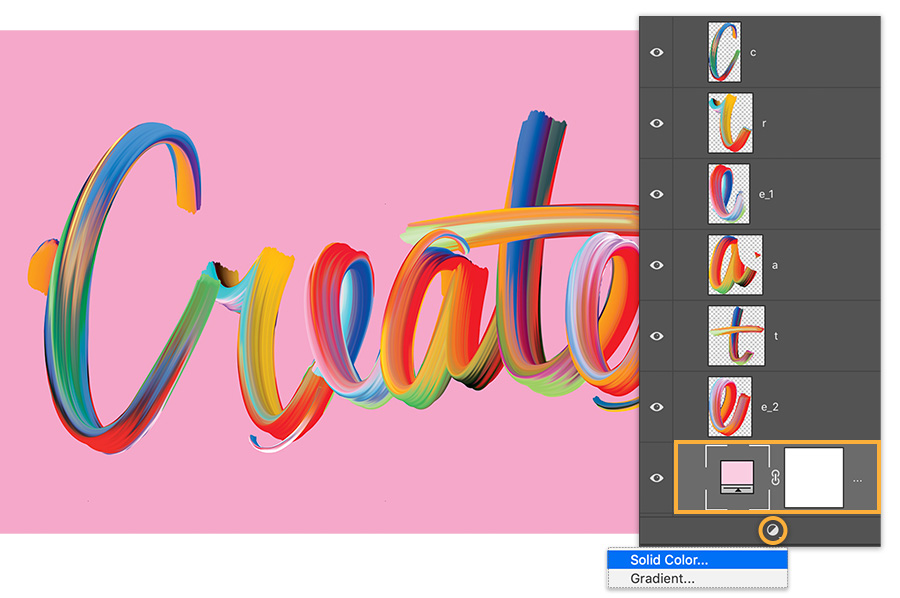 Hand lettering with brushed look spell Create on pink background, each letter is on its own layer